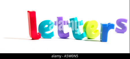 the word letters written with multi coloured fridge magnets - Stock Photo