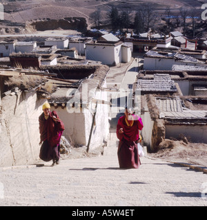 Two monks in purple robes climb the many stone steps to Zhongdian monastery,Tibetan Plateau,Yunnan Province,China. - Stock Photo