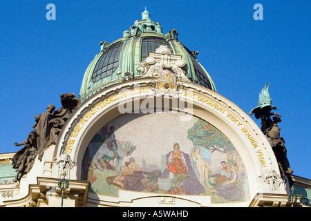 Design mosaic Prague Apotheosis. Exquisite Art Nouveau facade of the Municipal House Hall, Obecni Dum. Prague - Stock Photo