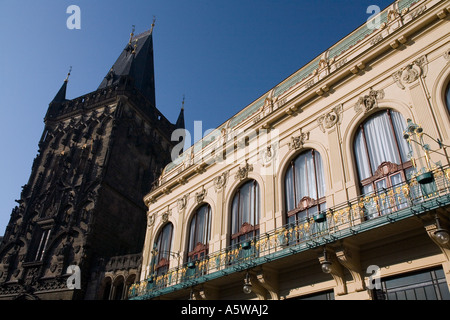Powder Gate Power and Municipal House Hall, Obecni Dum . Old Town, Prague - Stock Photo