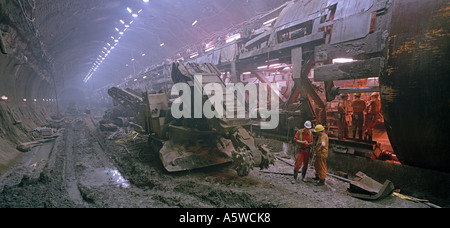 Channel Tunnel North Rail Boring Machine passes through the vast undersea UK crossover on its journey to France - Stock Photo