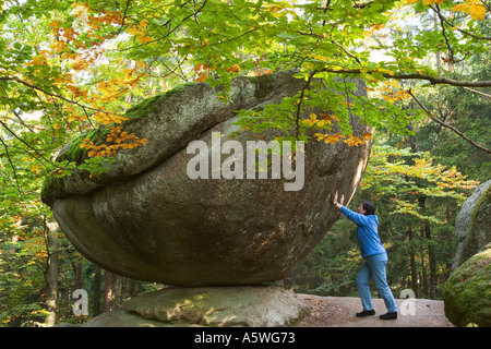 Wackelstein wobble stone near Solla Bavarian Forest Germany - Stock Photo