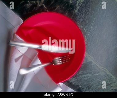 Plate fork knife napkin - Stock Photo