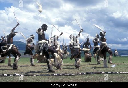 Zulu traditional dancers KwaZulu Natal Midlands South Africa - Stock Photo