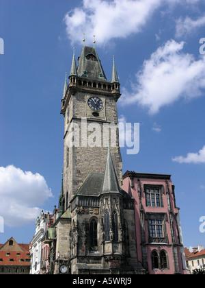 Clock Tower Old Town Square Prague Czech Republic Europe - Stock Photo