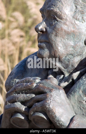 Bronze bust Sir Peter Scott founder WWW trust Arundel West Sussex UK - Stock Photo