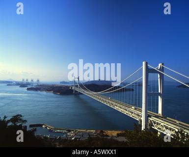 Seto-ohashi bridge that connects Honshu Island and Shikoku Island - Stock Photo
