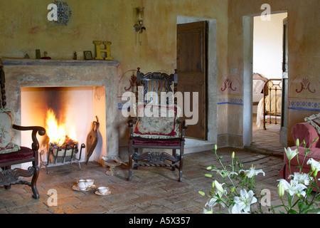 La Colombaia Tuscan Farmhouse Interior With Fireplace