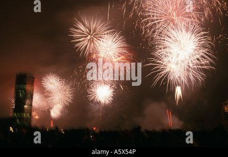 Millennium Firework Display (1st January 2000) over the River Thames, London, England, UK - Stock Photo