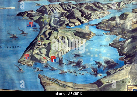 A map of WW1 naval and and operations around the Gallipoli peninsula, on display in a museum in Gallipoli, Turkey. - Stock Photo