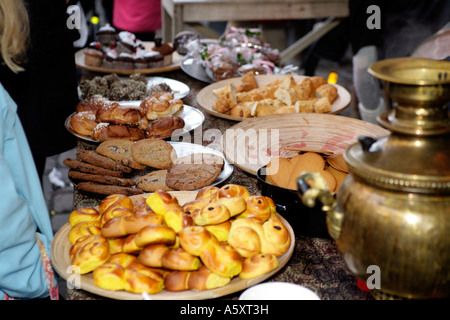 The irresistible cakes and cookies stall Christmas Openair Market in Haga,Gothenburg, Sweden - Stock Photo