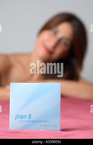 Plan B  progesterone only emergency contraceptive - Stock Photo