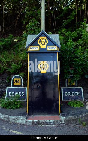 Vintage AA Box at Devils Bridge near Aberystwyth Ceredigion West Wales UK - Stock Photo