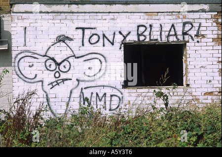 Anti war protest graffiti with caricature of Tony Blair - Stock Photo