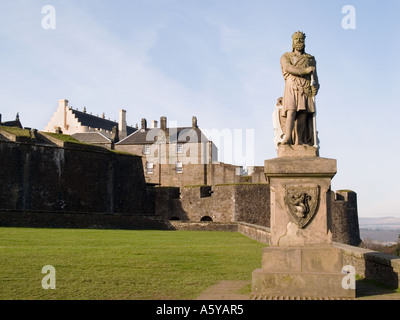 Stirling Scotland UK King Robert the Bruce statue standing in front of Stirling Castle on eslpanade.