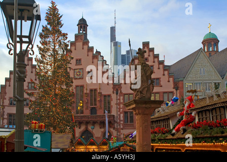 Christmas fair on the square Roemer Römer in Frankfurt am Main Hessen Germany - Stock Photo