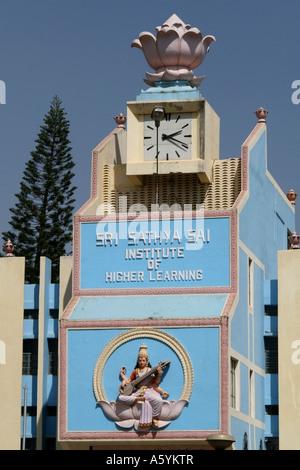 Saraswati the goddess of learning adorns a higher learning college building in Bangalore , Karnataka, India - Stock Photo