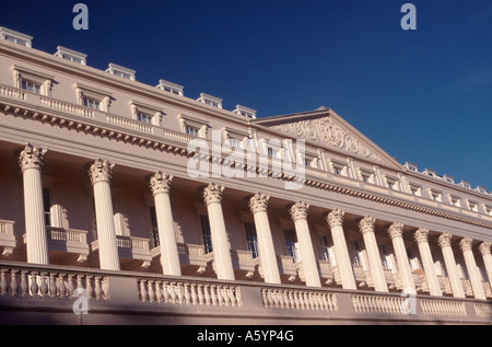 Columns, porches and roofline of Carlton House Terrace on a diagonal tilt, overlooking The Mall, Westminster, London, - Stock Photo