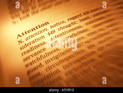 THESAURUS PAGE SHOWING DEFINITION OF WORD ATTENTION - Stock Photo