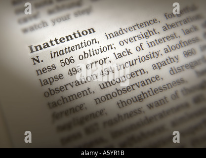 THESAURUS PAGE SHOWING DEFINITION OF WORD INATTENTION - Stock Photo