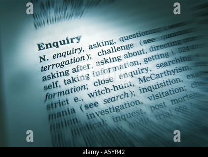 THESAURUS PAGE SHOWING DEFINITION OF WORD ENQUIRY - Stock Photo