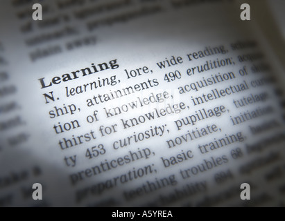 THESAURUS PAGE SHOWING DEFINITION OF WORD LEARNING - Stock Photo