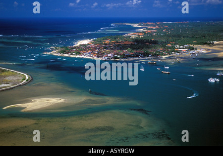 Aerial view of Sanur and holiday resorts Bali Indonesia - Stock Photo