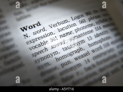 THESAURUS PAGE SHOWING DEFINITION OF WORD - Stock Photo