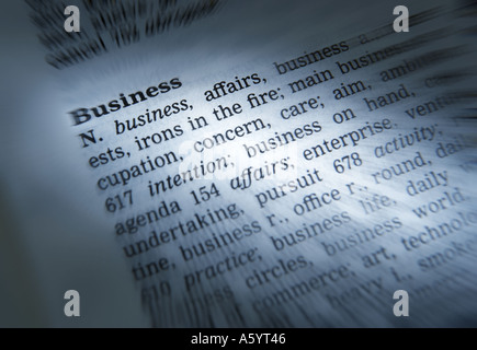 THESAURUS PAGE SHOWING DEFINITION OF WORD BUSINESS - Stock Photo