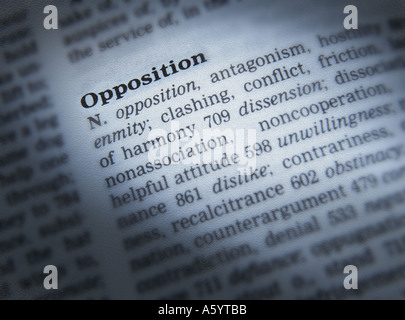 THESAURUS PAGE SHOWING DEFINITION OF WORD OPPOSITION - Stock Photo