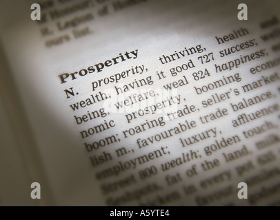 THESAURUS PAGE SHOWING DEFINITION OF WORD PROSPERITY - Stock Photo