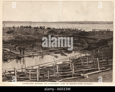Mississippi River flood in 1890. Constructing mattress for government work at Wilson's Point, Louisiana. - Stock Photo
