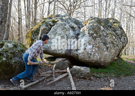 Pushing the Trembling Rock near Viterbo - central Italy - Stock Photo