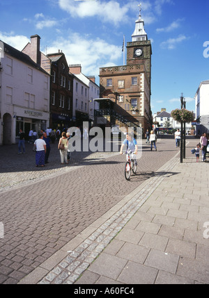 dh Town House DUMFRIES GALLOWAY Main street shopping centre people boy on bicycle scotland