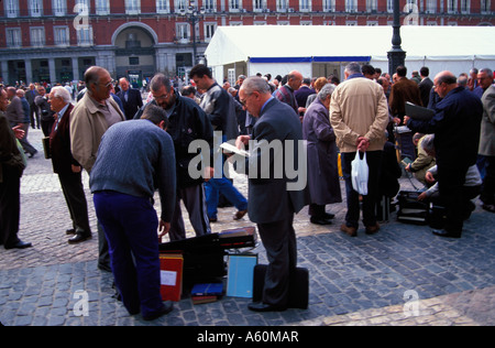 Painet gv1277 15 sunday stamp coin outdoor market plaza mayor madrid spain affairs bargaining barter buying capital - Stock Photo