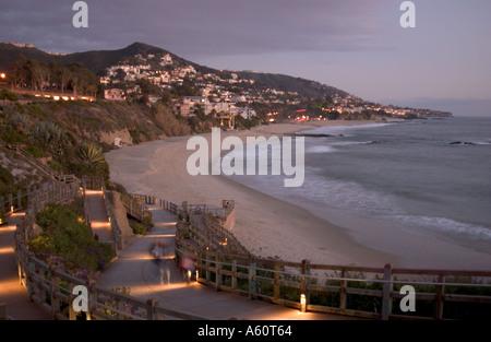 Sunset beach scene at the Montage Resort in Laguna Beach. - Stock Photo