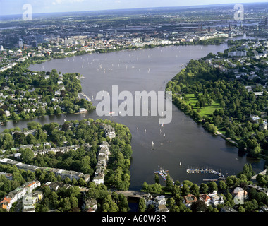 Aussenalster (outer Alster), Germany, Hamburg - Stock Photo