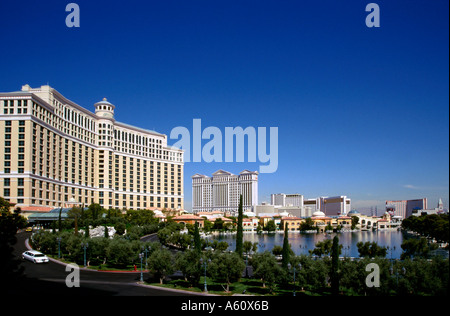Man made lake and grounds in front of the Bellagio Resort Hotel and Casino. Caesars Palace and Mandalay Bay in the - Stock Photo