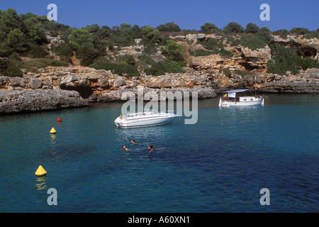 Scene in Cala Sa Nau South of Portocolom SW Mallorca Balearic Islands Spain 21st September 2004 - Stock Photo