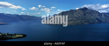 Panoramic view over Queenstown Bay from the Skyline Complex Lake Wakatipu New Zealand - Stock Photo