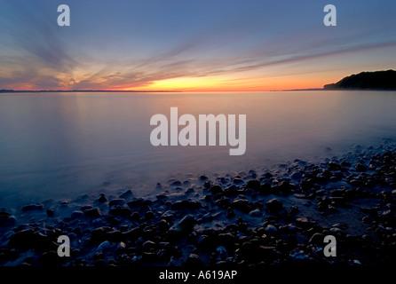 Sunrise in the Eckernfoerde Bay, Baltic Sea, Schleswig-Holstein, Germany - Stock Photo