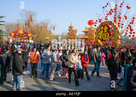 Chinese New Year's Day Year of the Pig Spring Festival celebrations Temple Fair Beijing China 18 February 2007 JMH2459 - Stock Photo