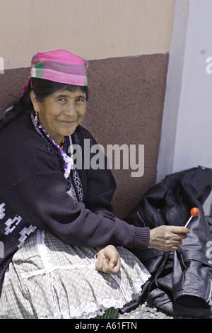 GUATEMALA CAPELLANIA Elderly indigenous Maya Quiche woman in traditional dress and apron - Stock Photo