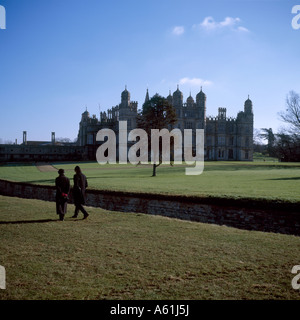 Burghley House is a grand 16th century English country house near the town of Stamford in Lincolnshire - Stock Photo
