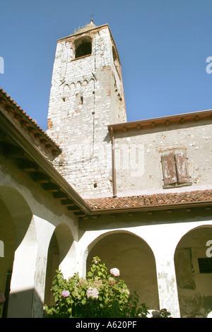 Cloister San Pietro in Lamosa monastery Provaglio d Iseo Franciacorta Lombardy Italy - Stock Photo