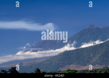 Smoke emitting from volcanic mountain, Fuego Volcano, Antigua Guatemala, Guatemala - Stock Photo