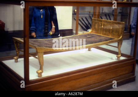 Gilded bed from tomb of Tutankhamen Egyptian Museum of Antiquities Cairo Egypt - Stock Photo