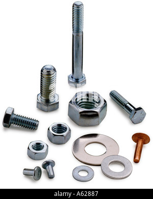 Various nuts bolts and washers - Stock Photo