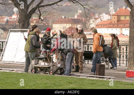 Film crew at work Prague March 2007 - Stock Photo