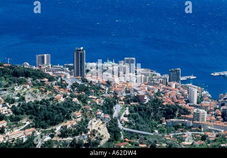 High angle view of a city, Monaco, Monte Carlo, Cote d Azur, France - Stock Photo